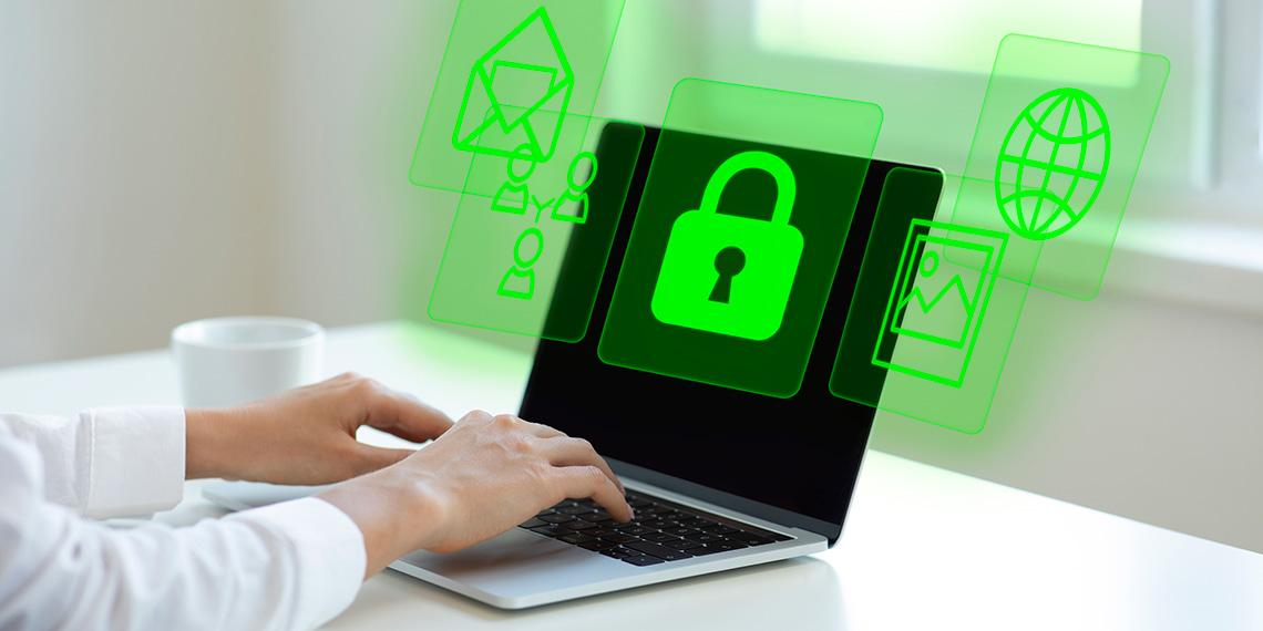 Person using a secure computer