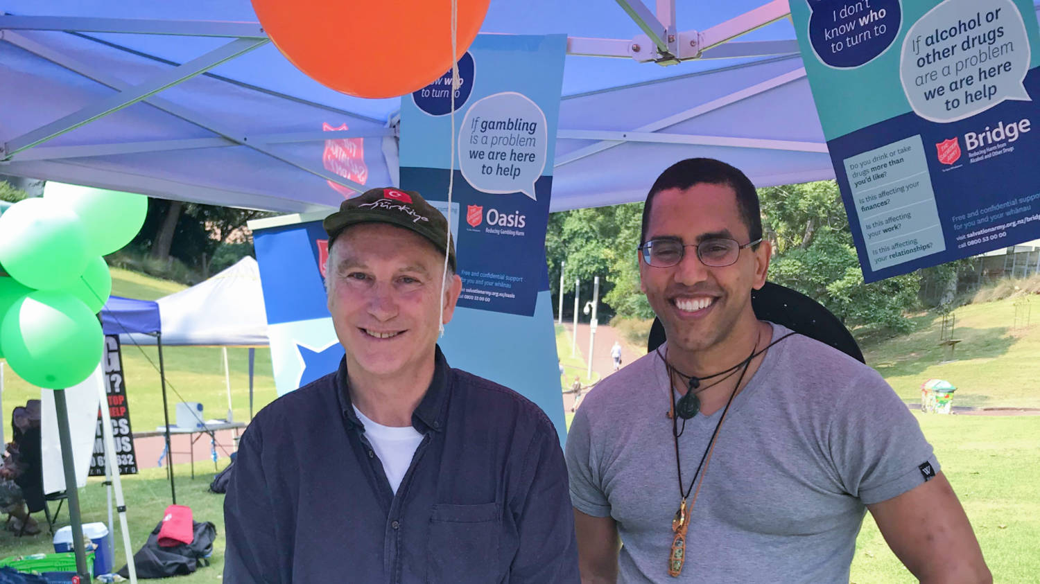 Joseph Whitton from The Salvation Army Oasis and Aaron Thomas from The Salvation Army Bridge look after the stall at the He Hikoi Mātūtū Recovery Walk